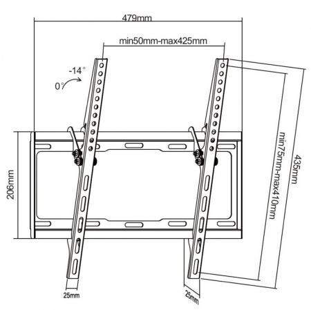 Suport TV, LCD/LED, 32 - 55 inch, cu inclinare, Negru [1]