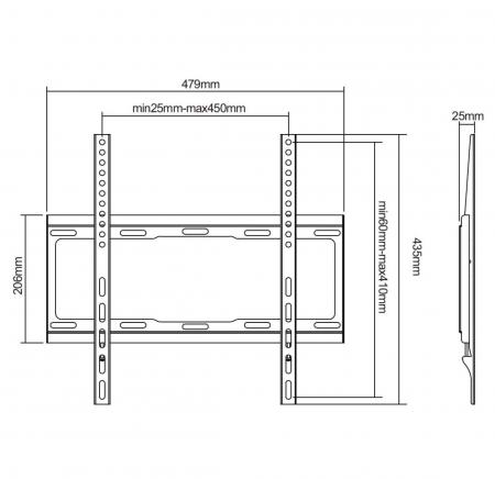 Suport universal LED TV 32 - 55 inch, Negru [1]