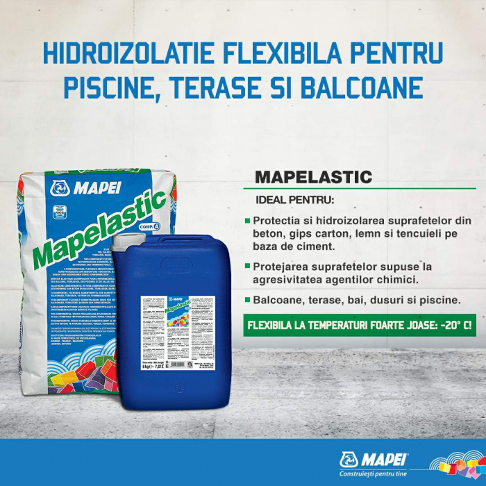 Hidroizolatie Flexibila pentru Terase, Balcoane, Bai, Mapelastic [1]