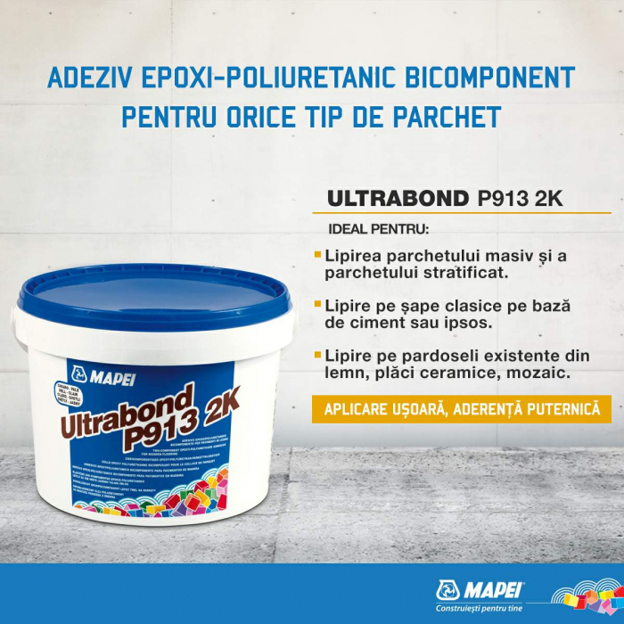 Adeziv Parchet Clasic din Lemn Masiv Mapei Ultrabond P913 2K, 10 kg [1]