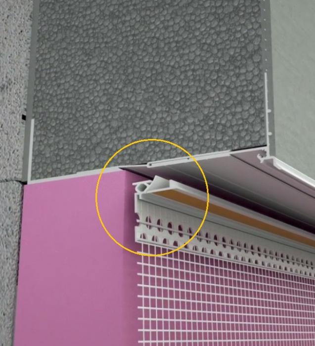 Anputzleiste Schutzlippe aus Weich-PVC - Element Conexiune Tamplarie cu Lamela LS, 2D, 9 mm, 2.6 m 2