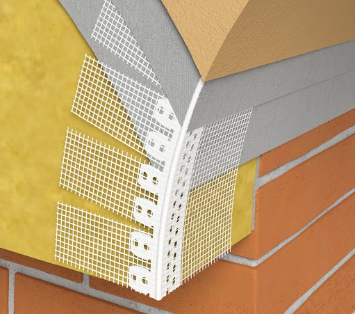 Gewolbewinkel - Coltar PVC Arcuibil cu Plasa Alba 100x150 mm, 30x30 mm, 2.5 m 1