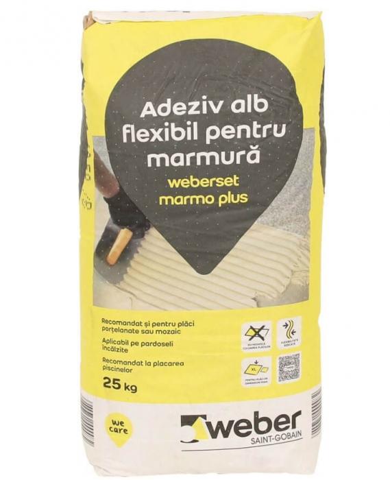 weber MarmoPlus - Adeziv flexibil alb ptr placare piatra, 25kg 0