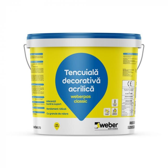 weberpas Classic Tencuiala Decorativa Acrilica, Grupa 3, Istorice Dark, 25kg 0