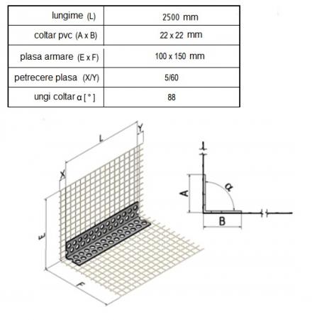 GewebeEckwinkel - Coltar PVC cu Plasa Alba 150x100 mm, 2.5m1