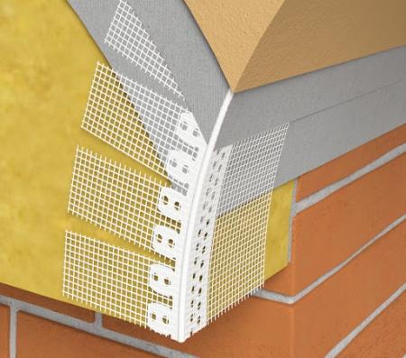 Gewolbewinkel - Coltar PVC Arcuibil cu Plasa Alba 100x150 mm, 30x30 mm, 2.5 m1