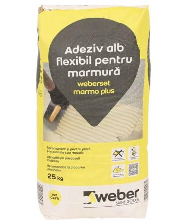 weber MarmoPlus - Adeziv flexibil alb ptr placare piatra, 25kg0