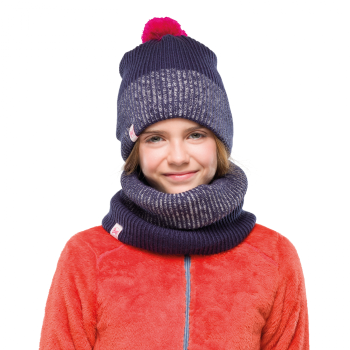 NECKWARMER JR KNITTED POLAR AUDNY NIGHT BLUE 1
