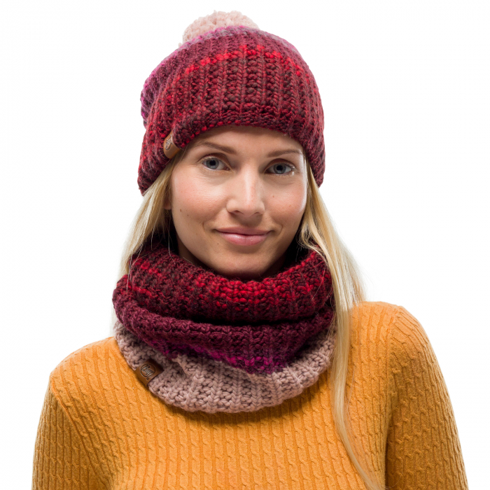 Neckwarmer knitted polar ALINA Maroon 2