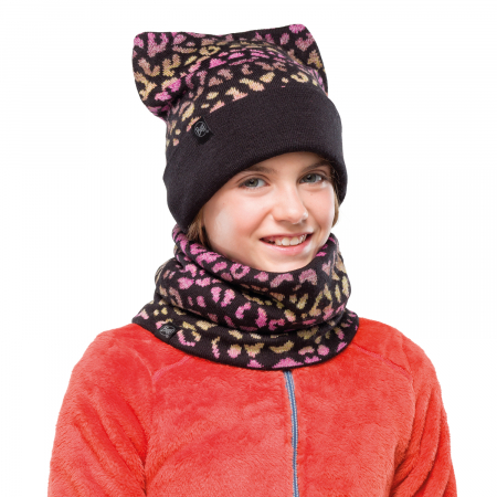 NECKWARMER JR KNITTED POLAR ALISA BLACK1
