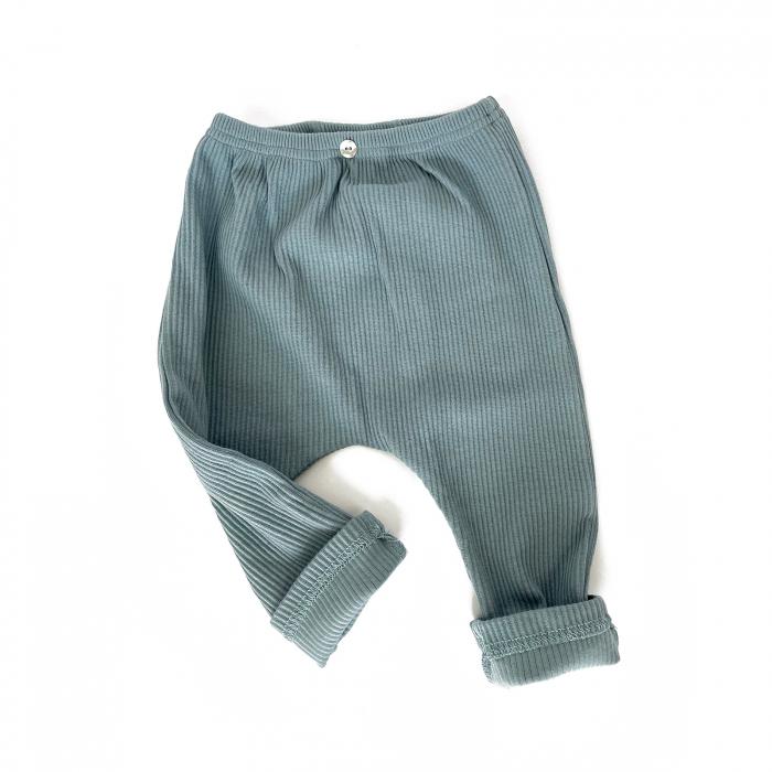 Pantaloni Bumbac Bebelusi Albastrii 0