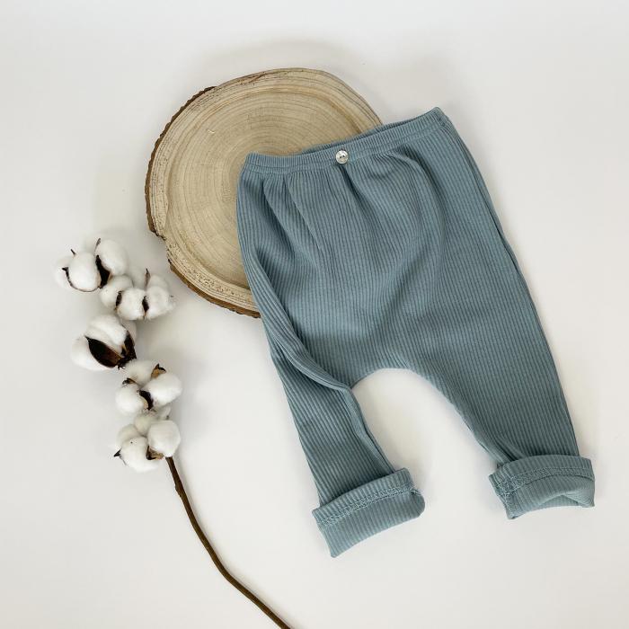 Pantaloni Bumbac Bebelusi Albastrii 3