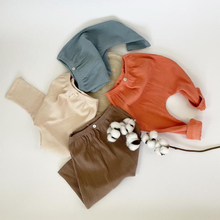 Pantaloni Bumbac Bebelusi Portocaliu 7