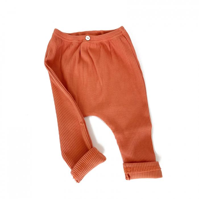 Pantaloni Bumbac Bebelusi Portocaliu 0