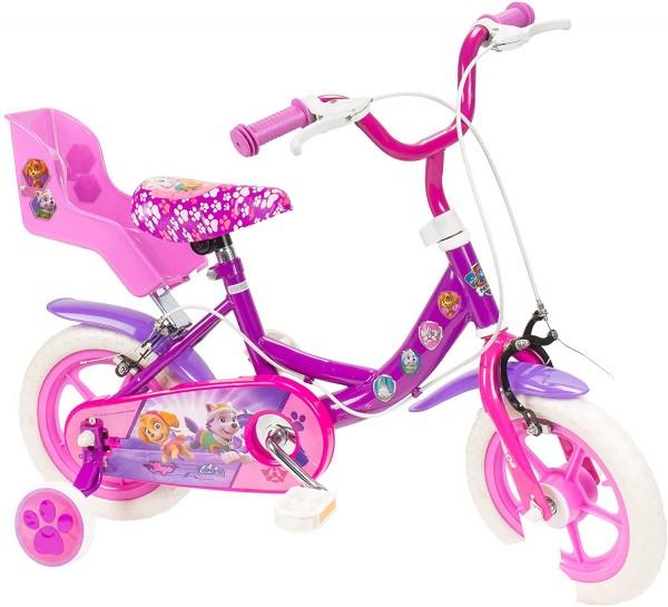 Bicicleta pentru copii Saica 2200S Paw Patrol Girl cu roti ajutatoare cosulet papusa si roata EVA 12 inch 0