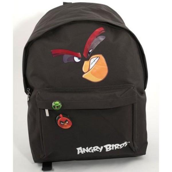 Ghiozdan Gimnaziu Simplu Angry Birds Negru Pigna si minge cadou 0