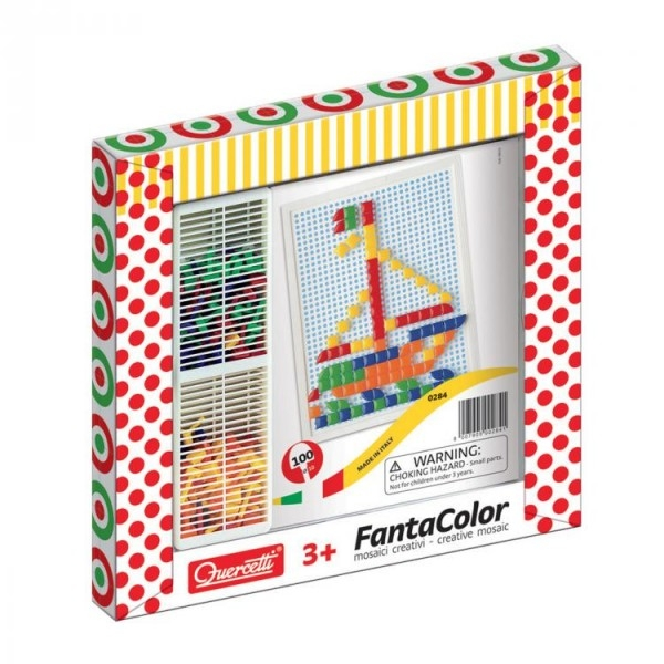Joc creativ Fanta Color Quercetti creatie imagini mozaic 100 piese 0