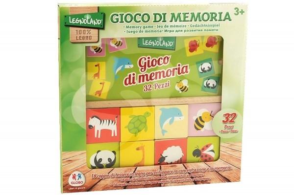 Joc educational din lemn 32 piese Globo Legnoland pentru copii asociere tip memo imagini animale 0