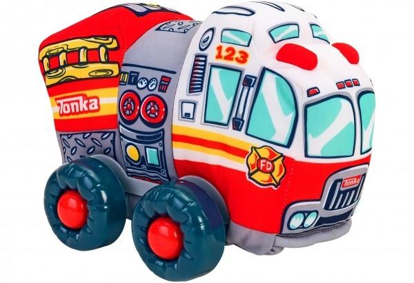 Jucarie moale pentru copii tip masina de Pompieri Globo Tonka cu sunete cu roti si accesorii din plastic Rosie 0