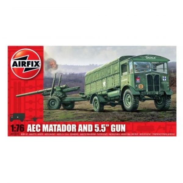 """Kit automodele Arifix 01314 Camion AEC Matador and 5.5"""" Gun Scara 1:76 0"""