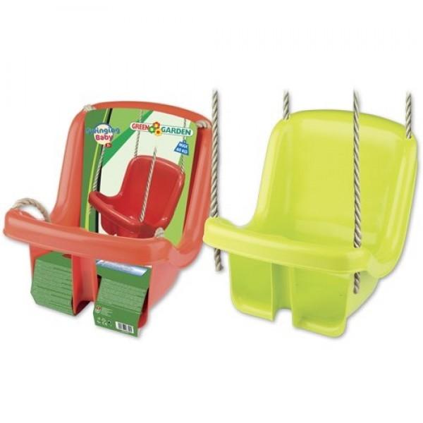 Leagan din plastic copii pentru exterior Androni cu spatar verde sau rosu 0