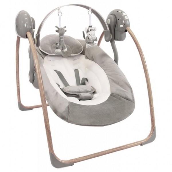 Leagan portabil BO Jungle Gri pentru bebelusi din lemn cu arcada jucarii  0