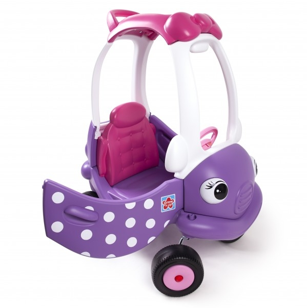 Masinuta din plastic de impins cu maner pentru control parental mov cu roz 0