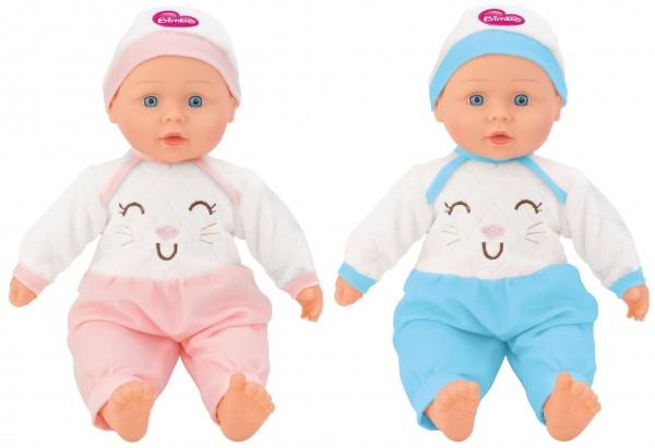 Papusa fetita cu sunete 40 cm Globo Bimbo 39461 cu costum pisicuta roz sau bleu si caciula 0
