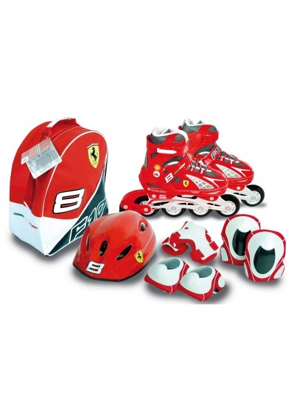Role copii Saica reglabile 35-38 Ferrari cu protectii si casca in ghiozdan 0