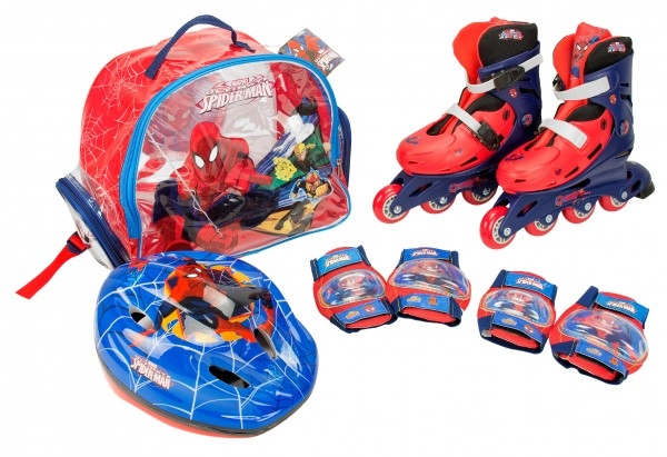 Role copii Saica reglabile 35-38 Spiderman cu protectii si casca in ghiozdan 0