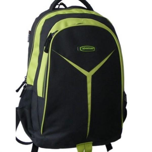 Rucsac scolar Adventurer negru cu verde  0