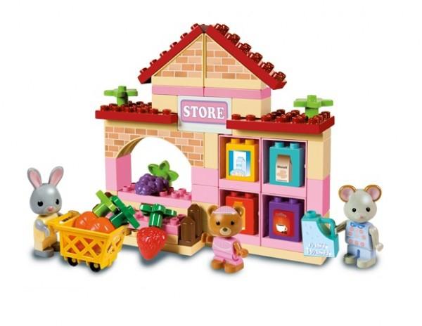 Set constructie cuburi Unico Maximilian Families Supermarket 60 piese 0