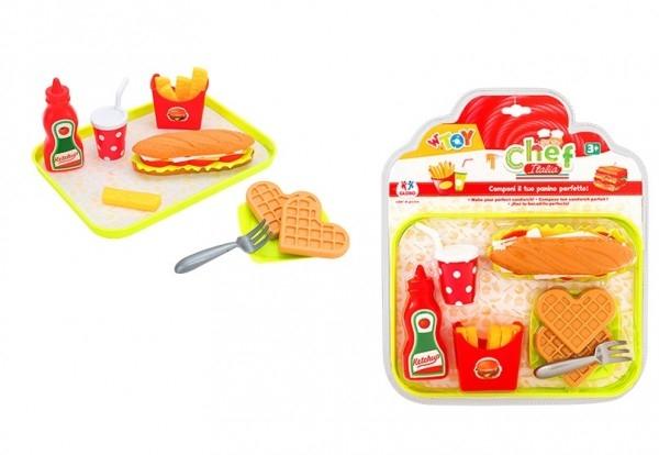 Set de joaca bucatarie Fast Food Globo WToy alimente cu tava 15 piese 0