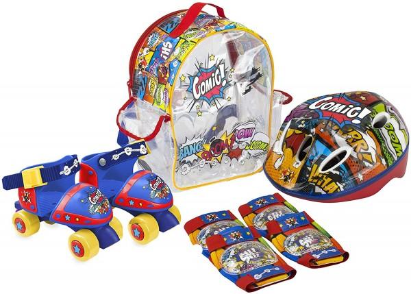 Set Patine cu rotile pentru copii Saica 9745 Comic marime reglabila 24-29 cu accesorii protectie si casca 0