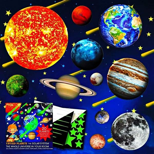 Set planete fosforescente Untold Planets Sistemul Solar si stele 220 piese 0