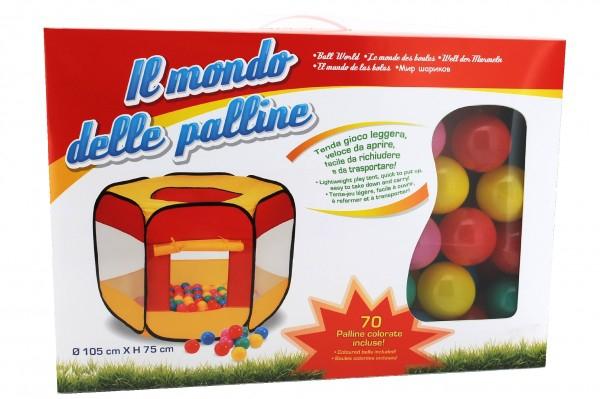 Spatiu de joaca cort cu 70 bile multicolore Globo pentru copii 0