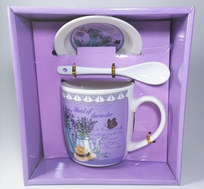 Cana cu lingurita si farfurie, model Lavender, 300ml 0