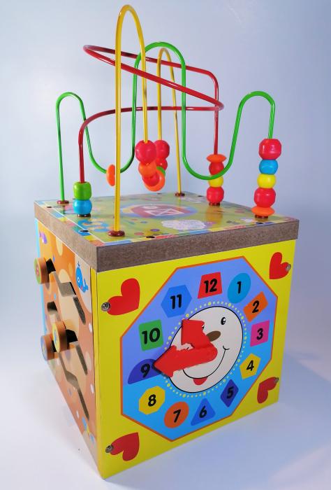 Cub educativ cu activitati din lemn 5 in 1,Ceas, Puzzle, Labirinturi, Abacus, Sah, 36 cm, Multicolor [0]
