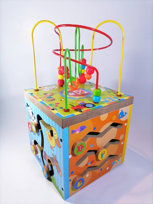 Cub educativ cu activitati din lemn 5 in 1,Ceas, Puzzle, Labirinturi, Abacus, Sah, 36 cm, Multicolor [2]