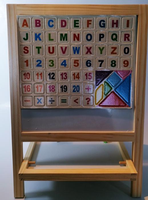Tabla magnetica de scris si desenat, pliabila, cu doua fete, din lemn/mdf 1