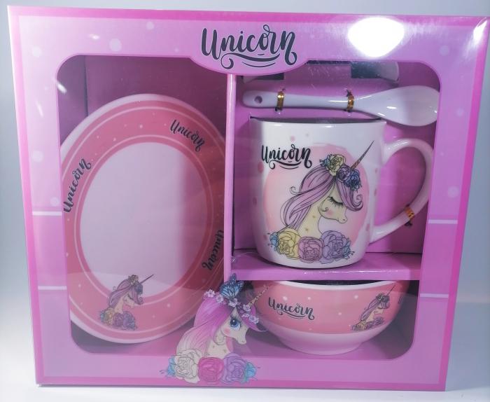 Cana cu lingurita farfurie si bol, model Unicorn, 300ml 2