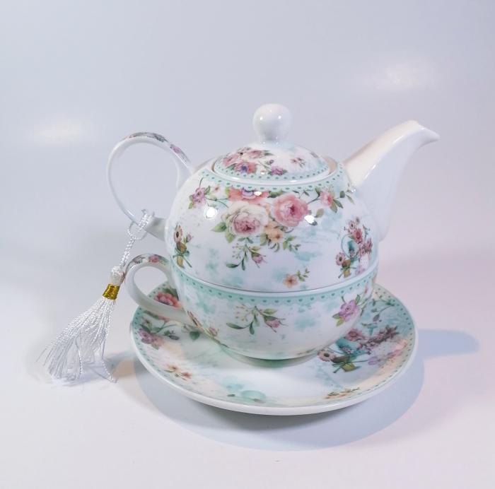Set cu ceainic, ceasca si farfurie, portelan, Multicolor, 500ml 0