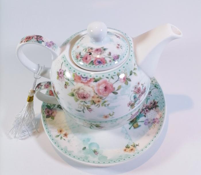 Set cu ceainic, ceasca si farfurie, portelan, Multicolor, 500ml 1