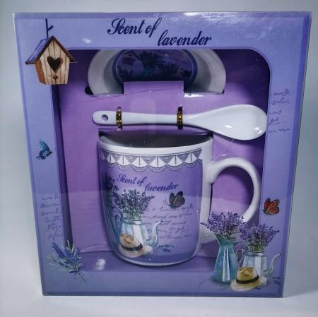 Cana cu lingurita si farfurie, model Lavender, 300ml1