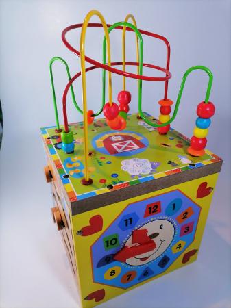 Cub educativ cu activitati din lemn 5 in 1,Ceas, Puzzle, Labirinturi, Abacus, Sah, 36 cm, Multicolor [1]