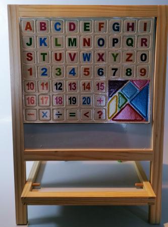 Tabla magnetica de scris si desenat, pliabila, cu doua fete, din lemn/mdf1