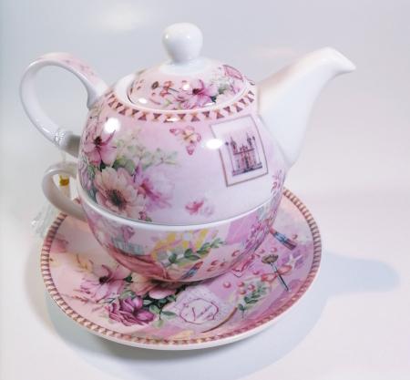 Set cu ceainic, ceasca si farfurie, portelan, Multicolor, 500ml0