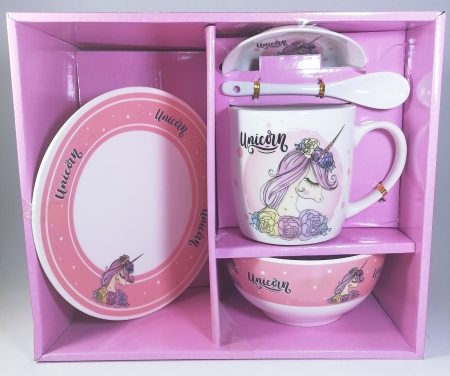 Cana cu lingurita farfurie si bol, model Unicorn, 300ml0