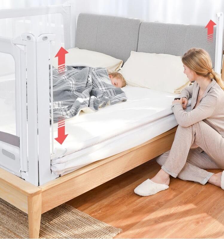 Aparatoare laterla de pat care poate fi reglata pe verticala