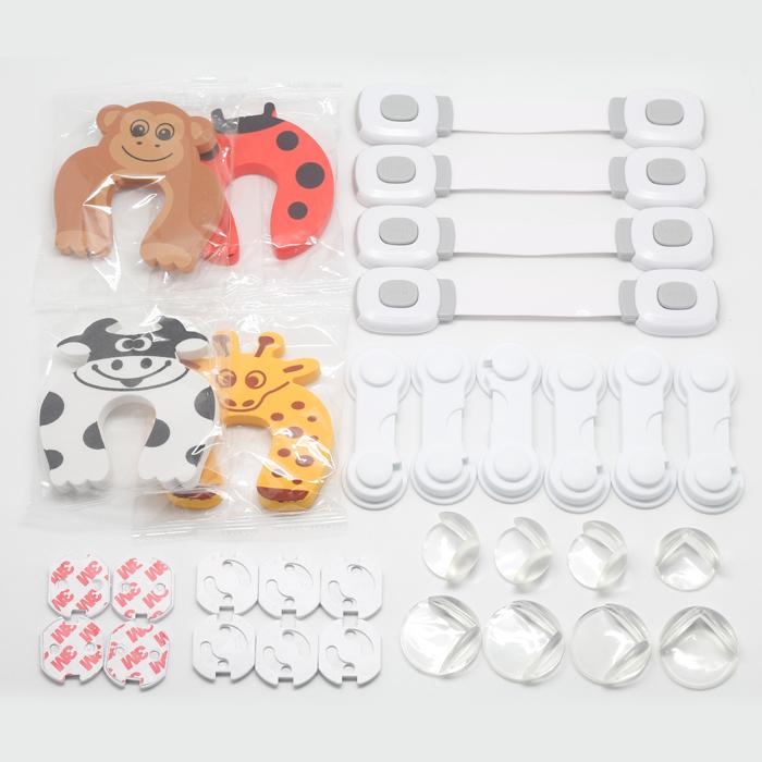 Set 32 piese protectii mobilier si prize pentru siguranta copiilor 0
